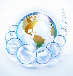 Bubbled earth america vector