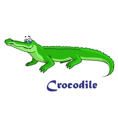 Colorful green cartoon crocodile vector