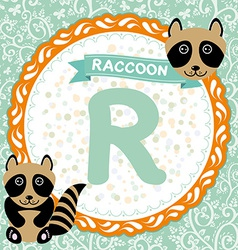 Abc animals r is raccoon childrens english vector