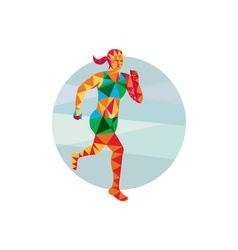 Female triathlete marathon runner low polygon vector