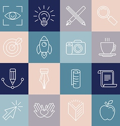 Graphic designer icons and badges in linear style vector