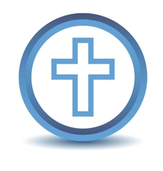 Blue protestant cross icon vector