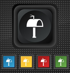 Mailbox icon sign symbol squared colourful buttons vector