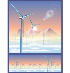 Wind turbines in the mountains vector