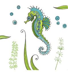 Tropical seahorse background vector
