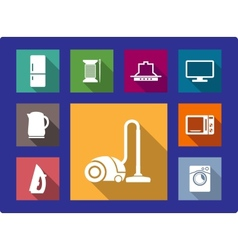 Household equipment flat icons set vector