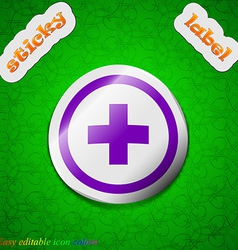 Plus positive zoom icon sign symbol chic colored vector