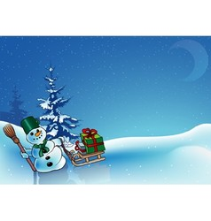 Snowman and gifts vector