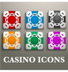 Square icons multicolor casino chips vector