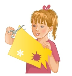 Girl is cutting color paper with scissors vector