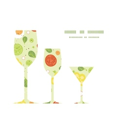 Fresh salad three wine glasses silhouettes vector