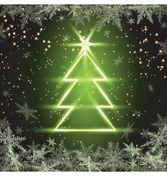 Christmas fir tree on green background vector