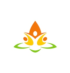 Eco people flower abstract yoga logo vector