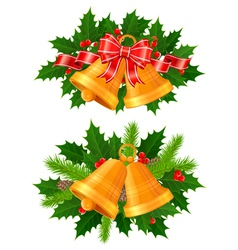 Christmas bells of holly vector