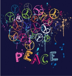 Drawn group of peace signs vector