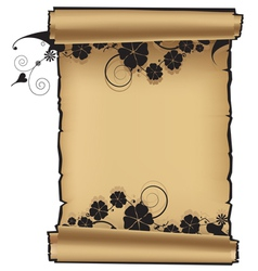 Scroll with flowers vector