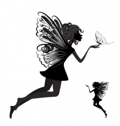 Fairy with butterfly vector