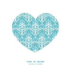 Light blue swirls damask heart silhouette vector