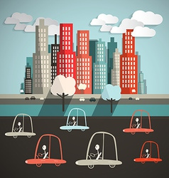 Cars in city flat design retro vector