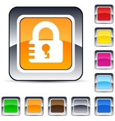 Lock square button vector