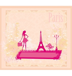 Beautiful women silhouette shopping in paris - vector