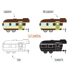 Caravan trailers isolated vector