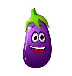 Purple cartoon eggplant vegetable or brinjal vector