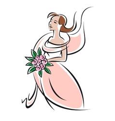 Pretty feminine bride or bridesmaid in pink dress vector