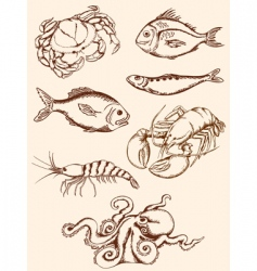Hand drawn seafood icons vector