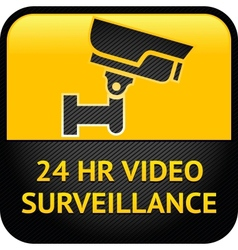 Video surveillance sign cctv label vector