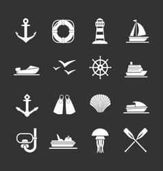 Set icons of sea beach and travel vector