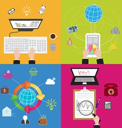 Flat business and technology concept vector
