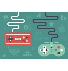 Flat gaming controllers vector