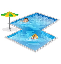 A pool with a boy and a girl swimming vector