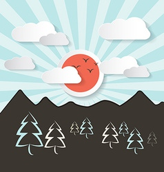 Retro abstract mountain landscape with paper vector
