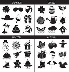 Season icons collection spring summer autumn wint vector
