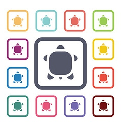 Turtle flat icons set vector