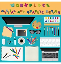 Digital art and graphic design working place in vector