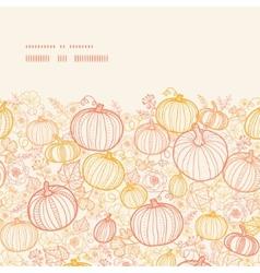 Thanksgiving line art pumkins horizontal frame vector