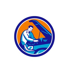 Auto mechanic car repair circle retro vector