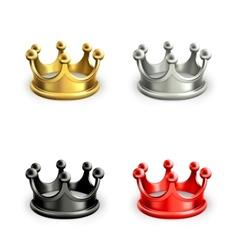 Multicolored crowns set vector