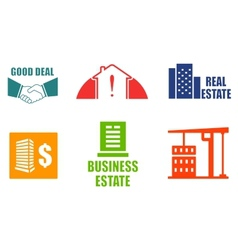 Set colorful real estate icons vector