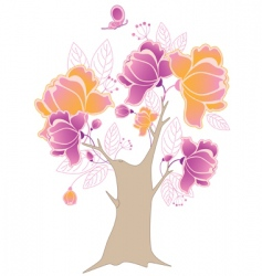 Flowering tree and butterfly vector