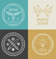 Graphic designer badges and logos in trendy linear vector