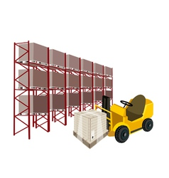 Forklift truck loading a shipping box in warehouse vector