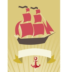 Sea banner with sailboat in cartoon style vector