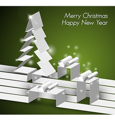 Merry christmas card with a white tree and gift vector