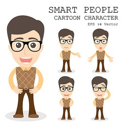 Smart people cartoon character eps 10 vector
