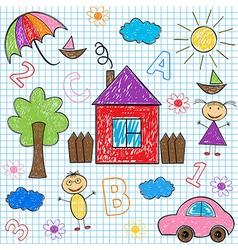 Seamless pattern kids drawings vector