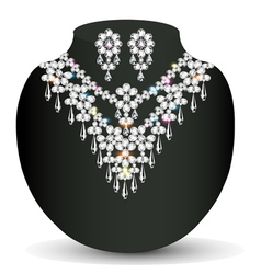 Necklace and earrings female vector